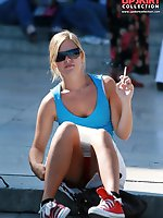 Upskirt pictures - Smoking blonde in mini spyed, up skirt sitting